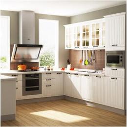 西雅图古白整体厨柜 石英石厨房家具简欧风格