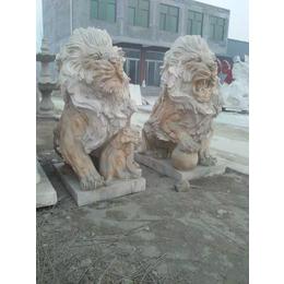 石雕动物飞狮雕刻园林大型石狮摆件