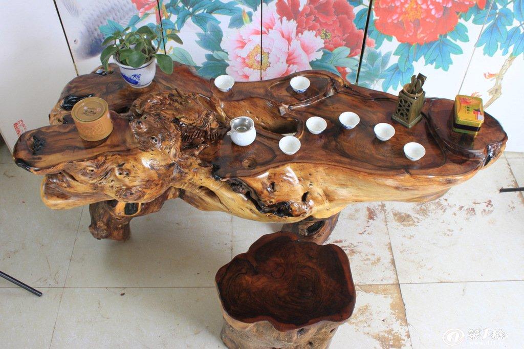 鸡翅木 龙雕刻 根雕茶桌 木雕茶几 实木树桩茶台 树根茶海摆件