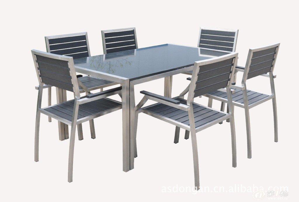 户外家具 304不锈钢花岗岩餐桌,餐椅