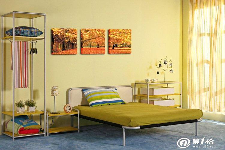 黄金大道枫林树客厅装饰画无框画 客厅沙发墙家庭装饰