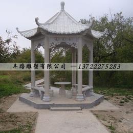 花岗岩黑白点亭子走廊园林景观雕塑