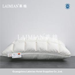 广州莱棉酒店客房床上用品 全棉面料面包格羽绒枕芯 白鹅绒枕