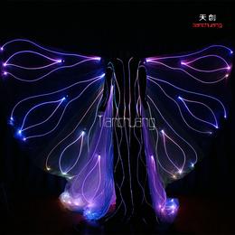 高跷蝴蝶发光服 荧光舞服 发光裙子 LED女装发光翅膀