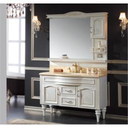 简欧浴室柜红橡木仿古 落地开放漆雕花洗脸盆缩略图