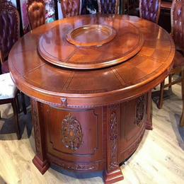 红棕色实木酒店宴会电动餐桌椅