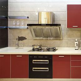 中式风格整体酒红色橱柜