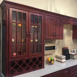 中式风格砖红色整体橱柜