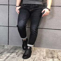 驰帝欧男士黑色小脚牛仔裤