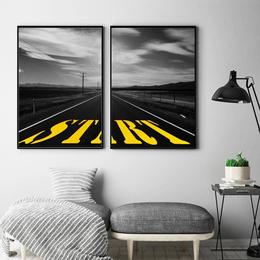 蘑菇堡 黑白马路个性挂画装饰画