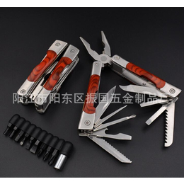 厂家直销彩木柄多功能小刀钳 户外多用途折叠工具钳子 商务礼品