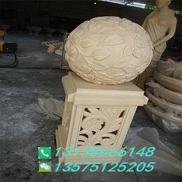 砂岩浮雕树叶灯饰个性圆球灯酒店庭院装饰人造石雕透光灯罩摆件