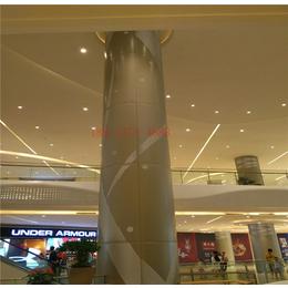 商场包柱透光铝单板 中庭弧形铝单板 雕花圆柱铝板