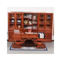 中式实木大班台老板办公桌 明清古典仿古榆木电脑桌