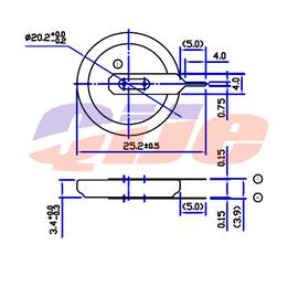 CR2032平行立式插脚电池