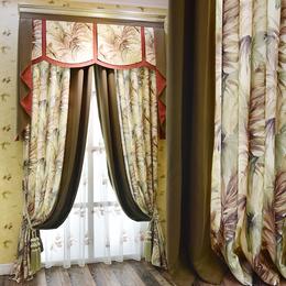 简约现代清新提花客厅卧室拼接棉麻遮光窗帘