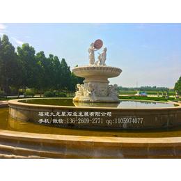 出售汉白玉喷泉雕塑欧式风格石雕喷泉人物动物喷水雕塑