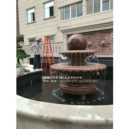 优质石材风水球印度红风水球双层结构室外喷泉雕塑