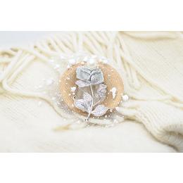 ll 玫瑰 ll 银色优雅珍珠胸针 女胸花别针