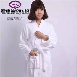 酒店浴袍 长款全棉浴袍纯白领汉服领系