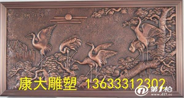 供应铜雕雕塑锻铜浮雕花鸟雕塑松鹤延年雕塑厂家定制