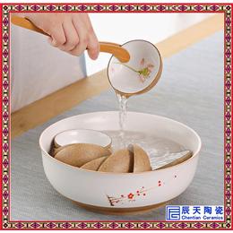 景德镇白玉瓷茶具套装 限量款手绘荷清功夫茶具礼盒