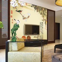 北欧电视背景墙壁画硬包植物花鸟水彩画背景墙软包卧室床头墙布