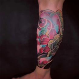 彩色图花小 腿纹身设计图