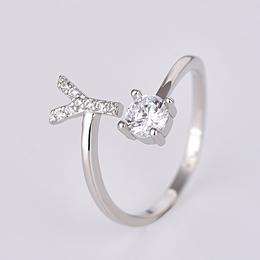 925银开口字母戒镶钻女式戒指可调节 饰品工厂可定制