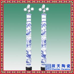 供应小区花园景观路灯灯柱陶瓷器青花瓷中空灯杆子可定制图案