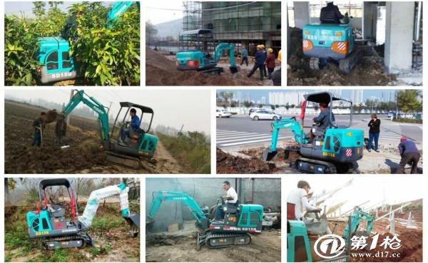 小型挖掘机工作中