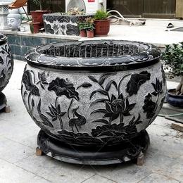 石雕鱼缸 青石直径80cm荷花缸 石头槽养鱼池摆件