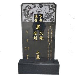 中国黑龙凤石碑 石雕坟头墓碑 黑色花岗岩土葬墓碑