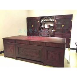 西安仿古实木办公桌-红木办公台-中式老榆木办公桌-定做厂家