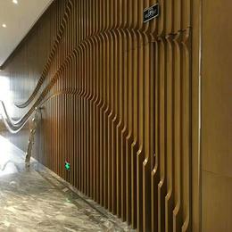 定制背景墙木纹弧形铝格栅 波浪形铝方通 弧形木纹铝方通
