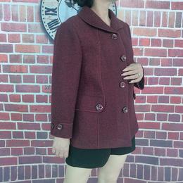冬款西装领中年宽松短款外套毛呢大衣红色缩略图