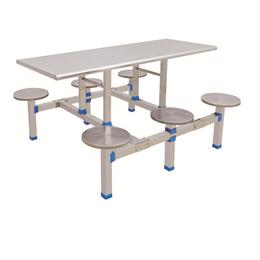 HL-A19117六位不锈钢圆凳连体餐桌