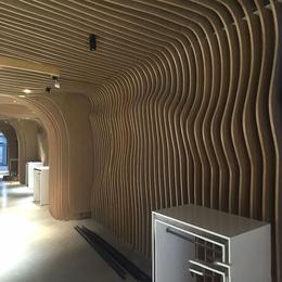 定制木纹铝方通吊顶 弧形铝方通 弧形铝格栅厂家直销