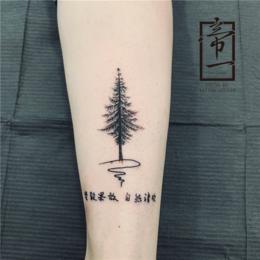 松树图案 ins风手臂纹身 帝一艺术工作室图片