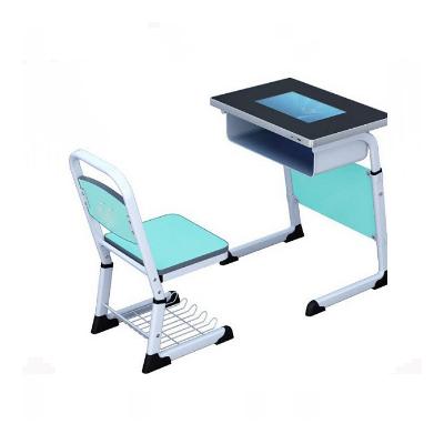 中小学单人C型单层套管升降液晶显示屏课桌椅