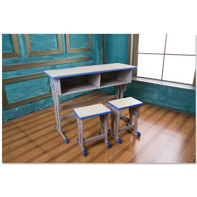 中小学双人双柱单层外升降多层板课桌凳