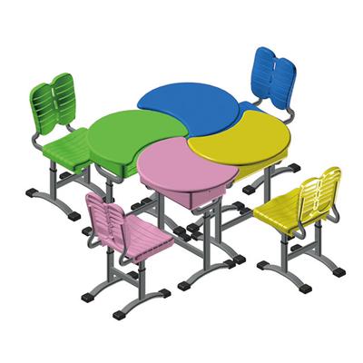 单柱单层拼接提拉式升降塑料课桌椅