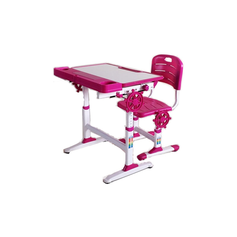中小学单人单柱单层旋钮升降课桌椅