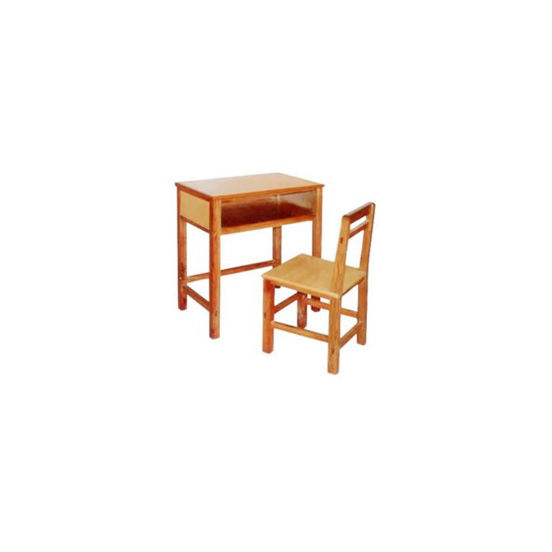 中小学单人实木固定课桌椅