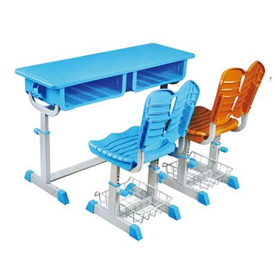 中小学双人旋钮升降塑料课桌椅