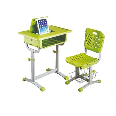 中小学单柱旋钮升降塑料课桌椅带平板支架
