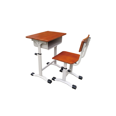 中小学单柱旋钮升降多层板课桌椅