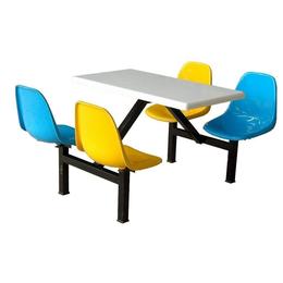 铁架四座快餐食堂商业彩色桌椅