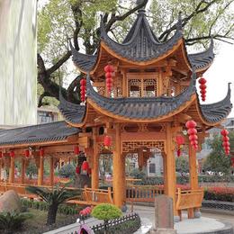 中式仿古  装修实木户外凉亭