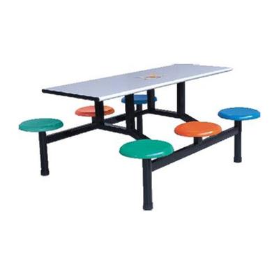 6位玻璃钢固定圆凳餐桌
